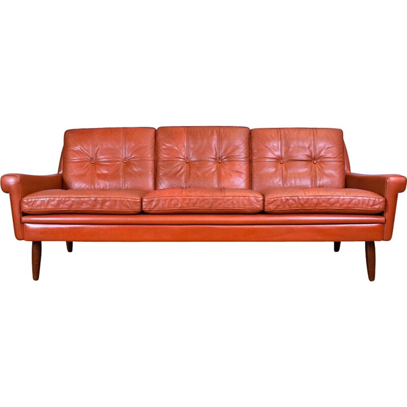 Vintage 3-seater sofa in red leather Skippers Møbler Danish 1960s