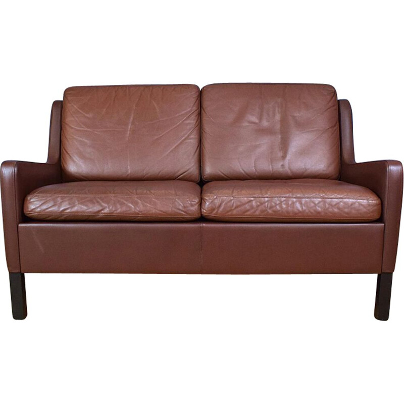 Vintage 2-seater sofa Brown Leather Danish 1970s
