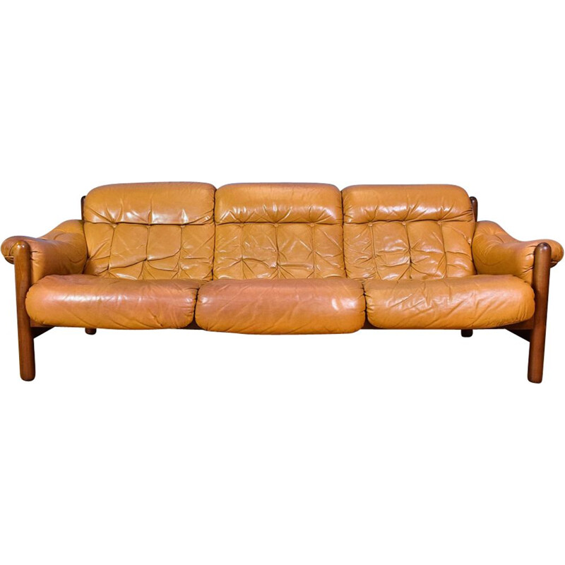 Vintage 3-seater sofa in caramel leather Swedish 1970s