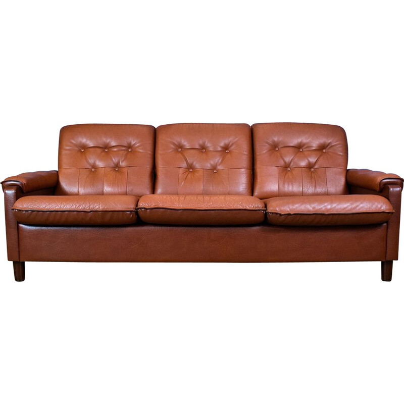 Vintage 3-seater sofa in tan brown leather Danish 1970s
