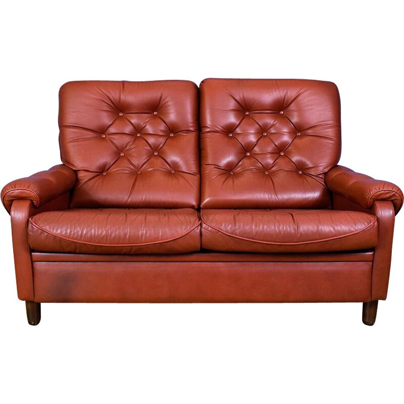 Vintage 2-seater sofa in red leather Danish 1970s