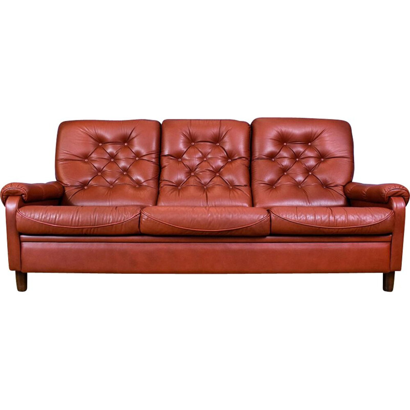 Vintage 3-seater sofa in red leather Danish 1970s