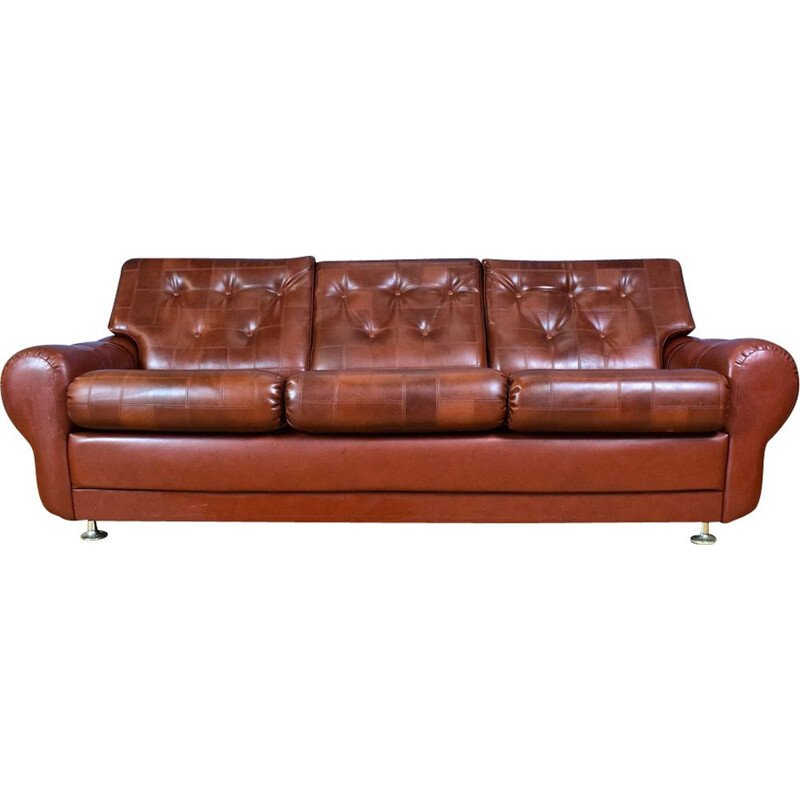 Vintage 3-seater sofa in cognac brown faux leather Danish 1970s