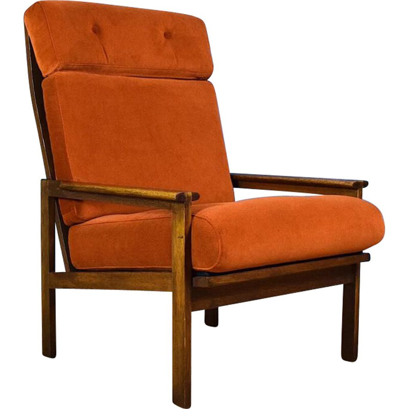 Vintage Lounge Chair Capella in Velvet & Oak by Illum Wikkelso for Niels Eilersen Danish
