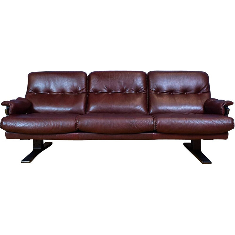 Vintage Swedish Burgundy Leather sofa by Arne Norell 1970s