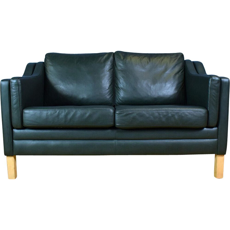 Vintage Danish Green Leather sofa by Mogensen