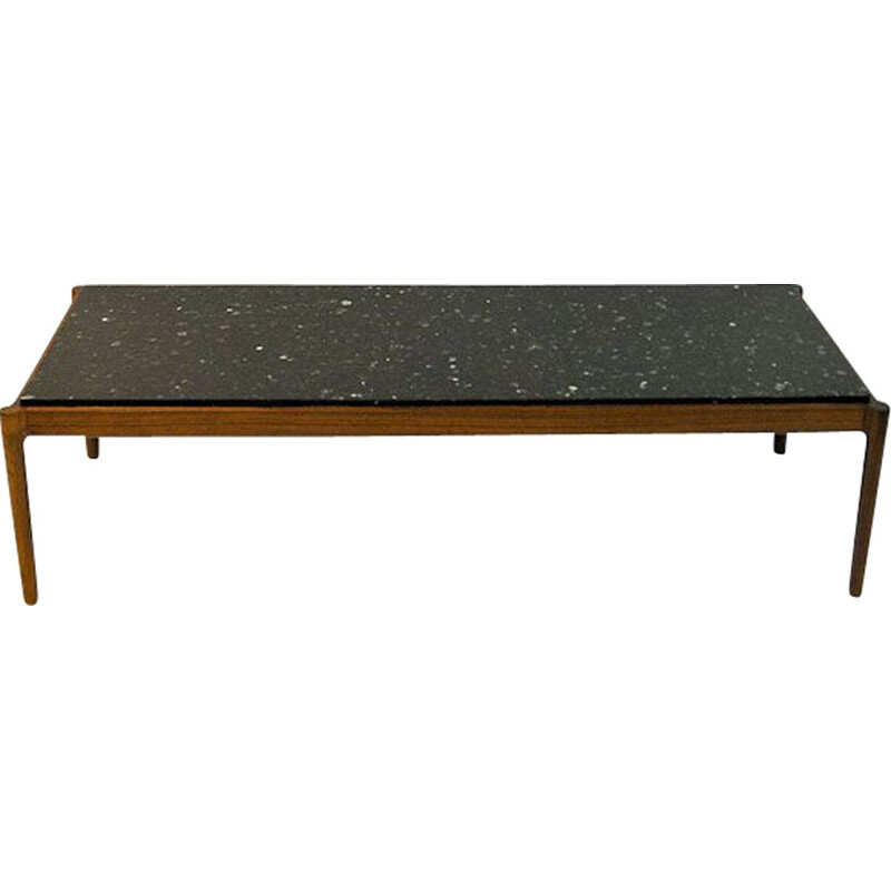 Vintage coffee table with black top by Ib Kofod Larsen, 1960s