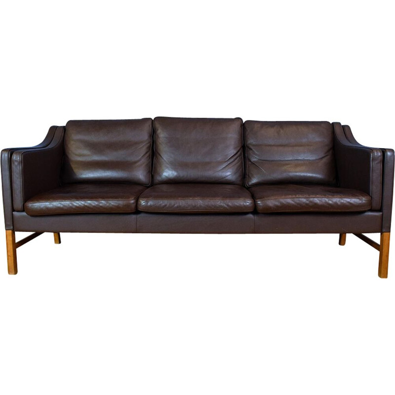 Vintage Danish sofa in Brown Leather by Mogensen