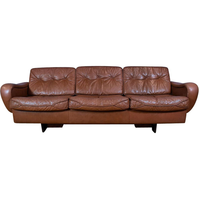 Vintage Danish sofa Brown Leather, by SofaMadsen & Schubell 70s