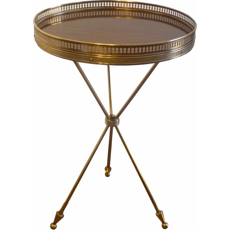 Vintage tripod side table, in brass and rosewood, 1950s