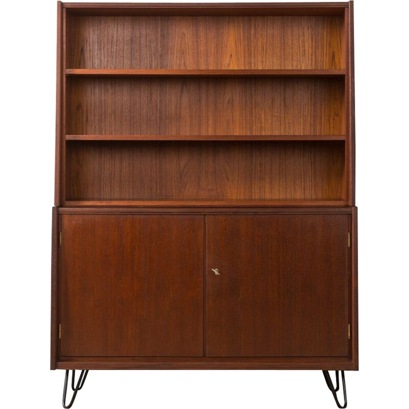Vintage scandinavian highboard in teak and steel 1950