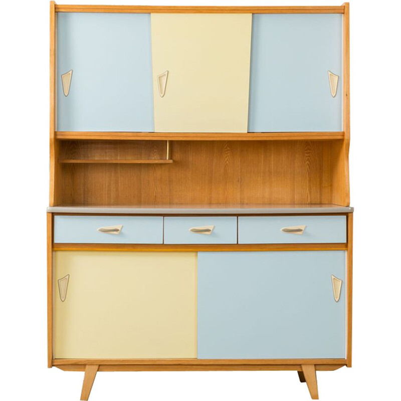 Vintage german cabinet in ashwood and blue and yellow formica 1950