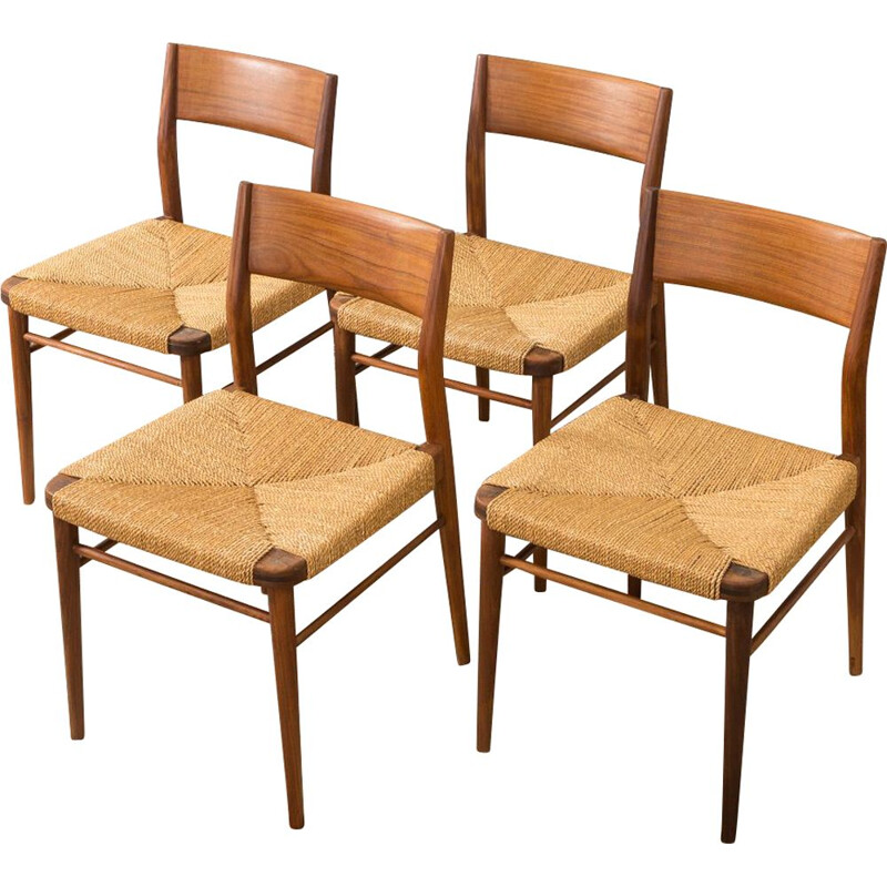 Set of 4 vintage 351 chairs for Wilkhahn in teakwood 1950