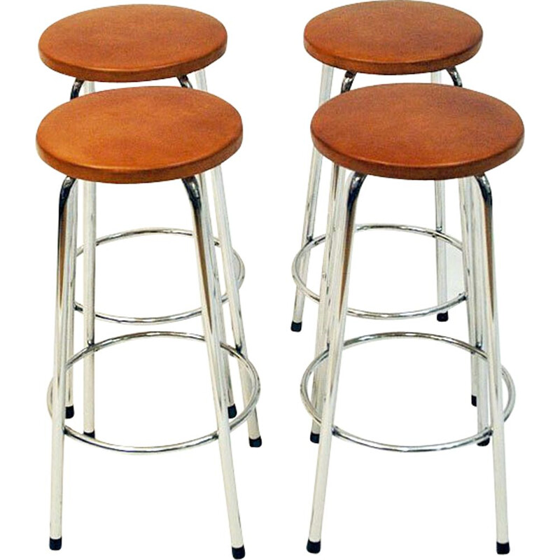Pair of vintage scandinavian brown leather stools with chrome legs 1960
