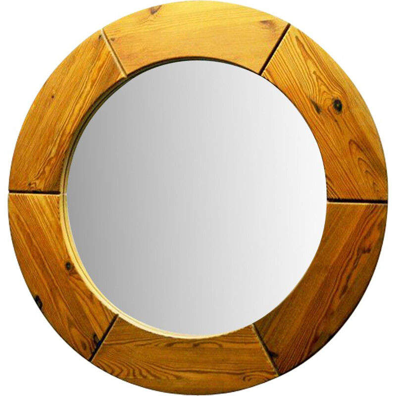 Vintage scandinavian round wall mirror for Glasmäster in pine and glass 1950