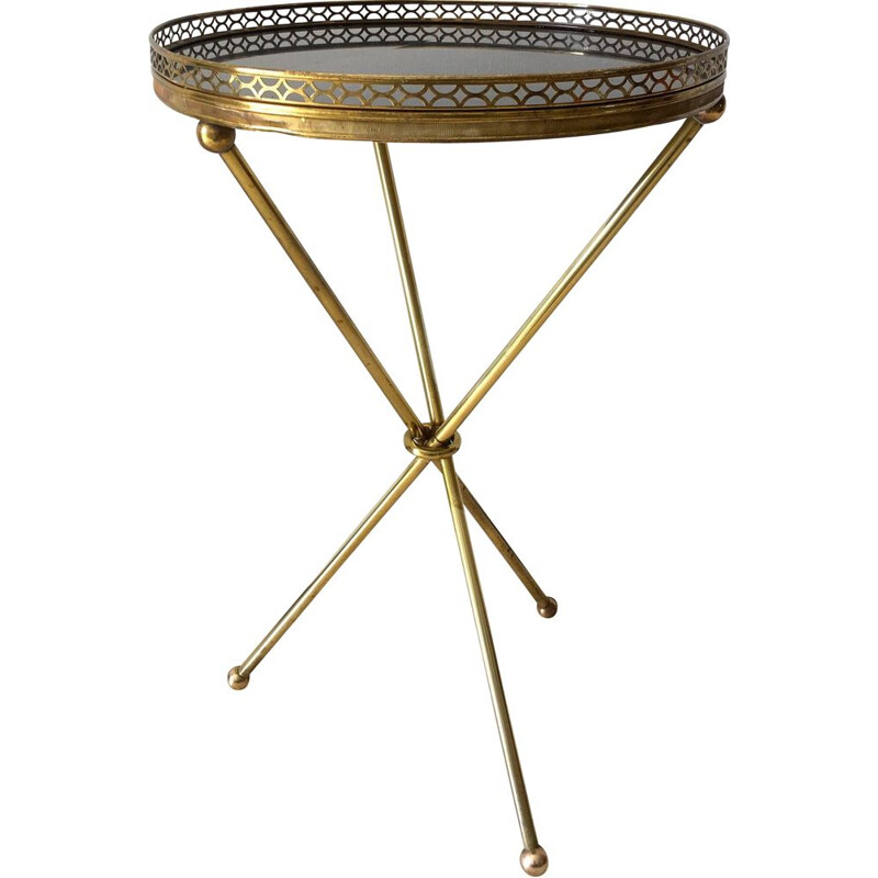 French vintage side table in brass and black marble 1950