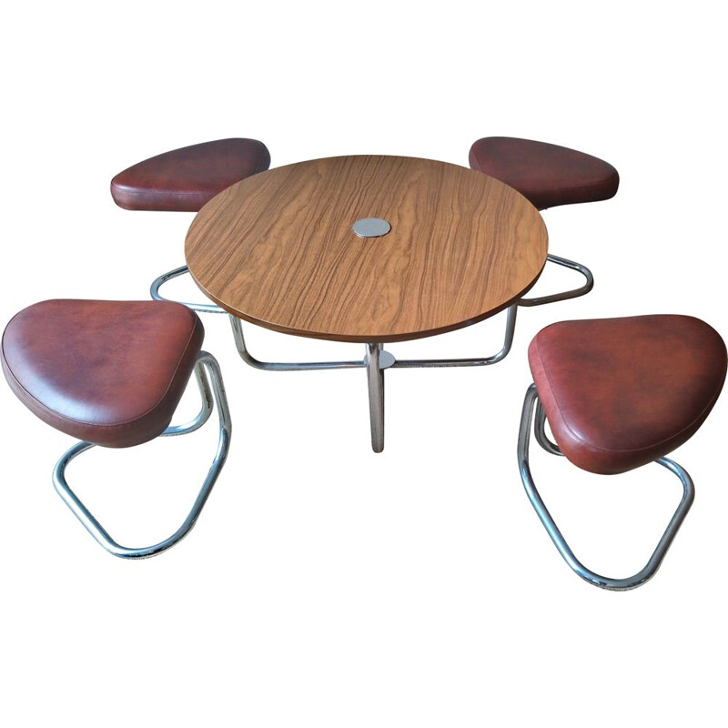 Set of vintage coffee table and 4 stools in brown leatherette and formica 1970