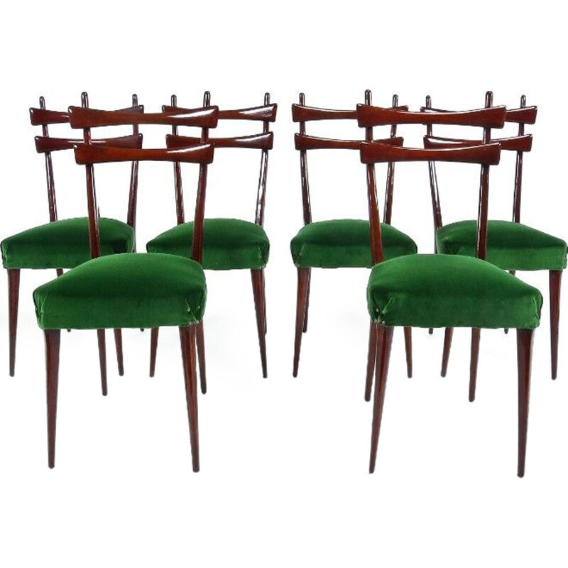 Set of 6 vintage italians chairs in green velvet and wood 1950