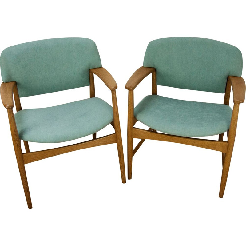 Set of 2 vintage armchairs in blue fabric and oakwood 1960