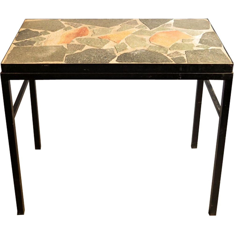 Vintage side table stone and black lacquered metal Germany 1970s