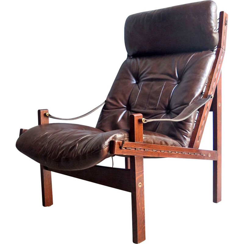 Vintage armchair Hunter in brown leather by Torbjon Afdal Scandinavian 1960s