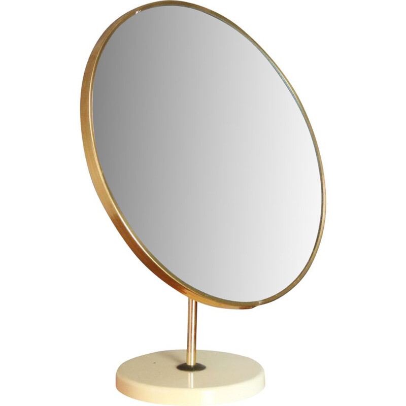 Vintage mirror for table in brass and plastic UK 1970s