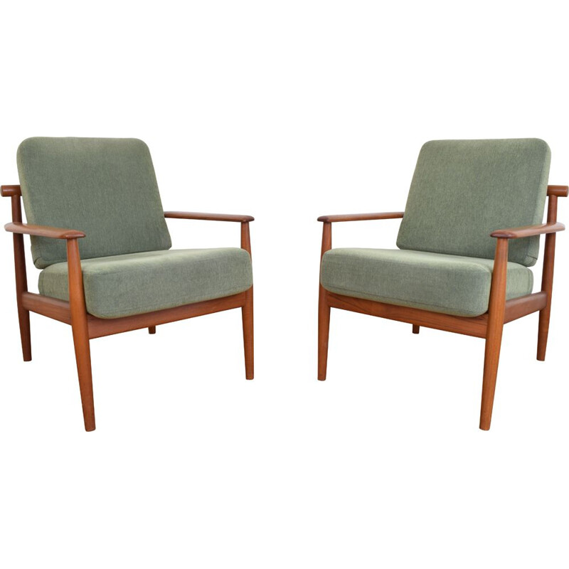 Set of 2 vintage Armchairs in teak by Arne Vodder, Danish 1960s