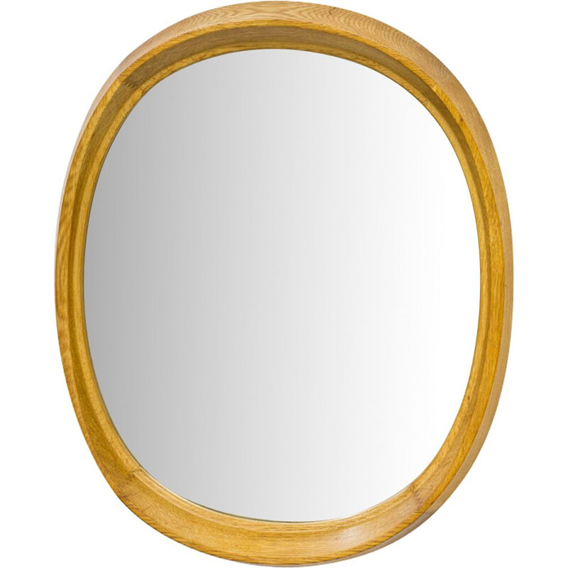 Vintage Swedish Oak Oval Wall Mirror, 1950s
