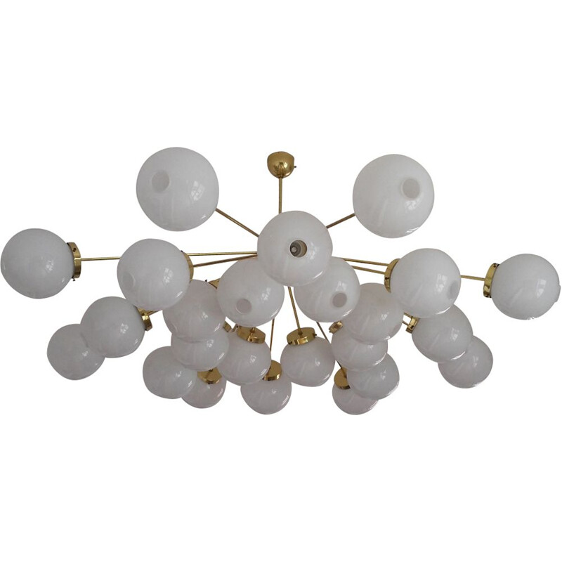 Vintage chandelier in brass, by Drukov, 1970s