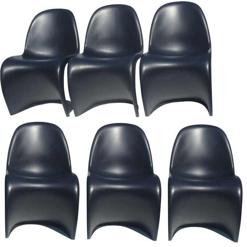 Set of 6 vintage black chairs for Vitra in polycarbonate
