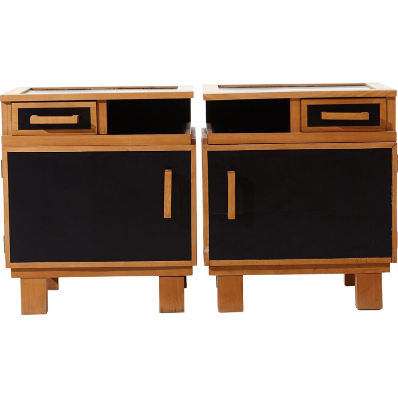 Vintage pair of functionalist nightstands, 1950s