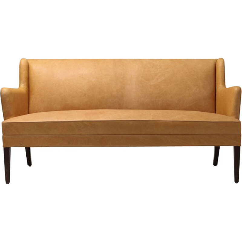 3 seater vintage sofa In Camel Leather - 1960s