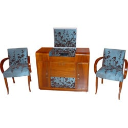Set of Eltax amplifier and 2 armchairs in wood and fabric - 1950s