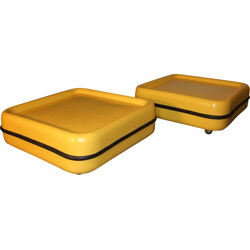 Pair of yellow coffe tables, Marc HELD - 1971