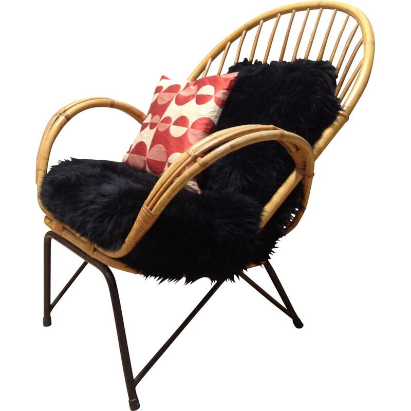 Scandinavian armchair in rattan, metal and sheepskin - 1950s