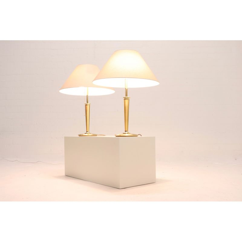 Set Of 2 Vintage Lamps By BM Leuchten In Brass And Linen 1980