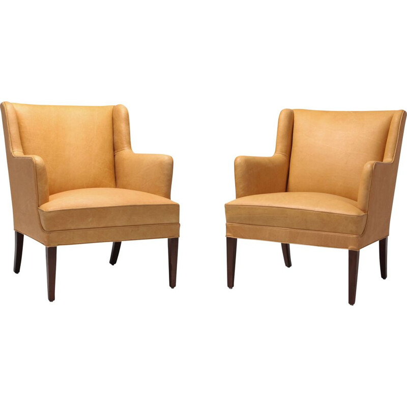 Vintage Bergere armchairs In Camel Leather, 1970
