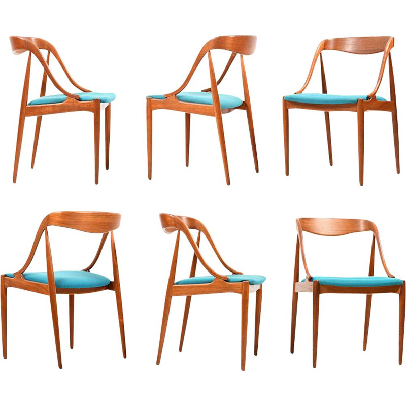 Set of 6 vintage dining chairs in teak by Johannes Andersen, model 16,1950