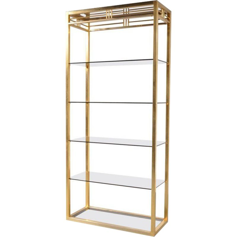 Vintage Belgian shelf in brass and smoked glass,1970