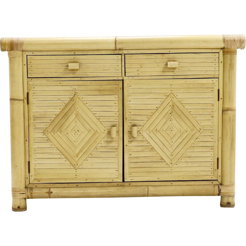 Vintage highboard in rattan and bamboo from the 70s