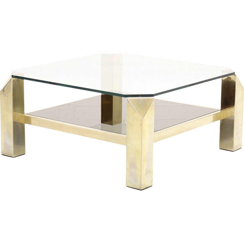 Vintage golden  coffee table by Belgo Chrome,1970