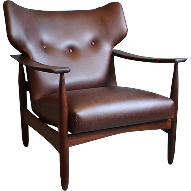 Vintage armchair in teak and brown leather,1960