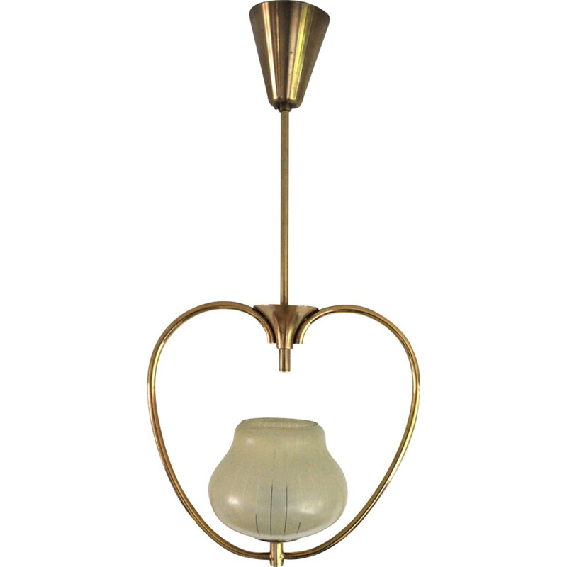 Vintage hanging lamp, in brass and etched glass, 1930s