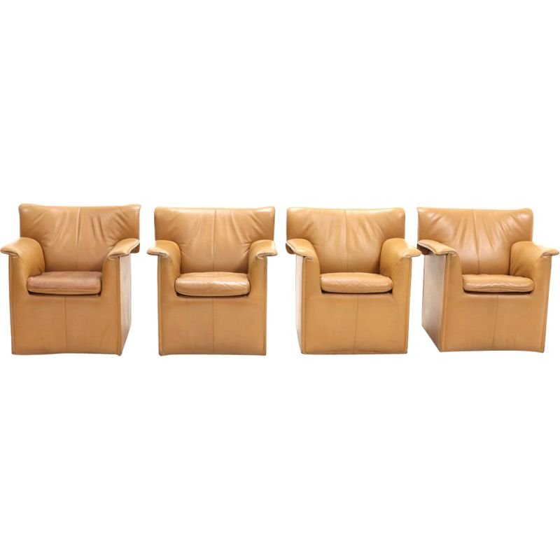 """Set of 4 vintage """"Lauriana"""" armchairs by Afra & Tobia Scarpa,1970"""