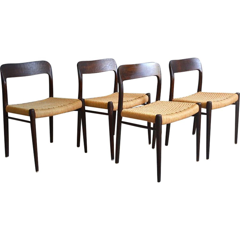 Set of 4 dining chairs in oak by Niels Moller, model 75,1960