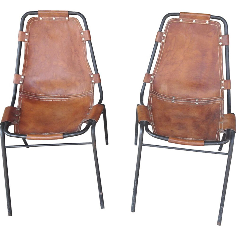 Pair of vintage chairs in leather France 1960s