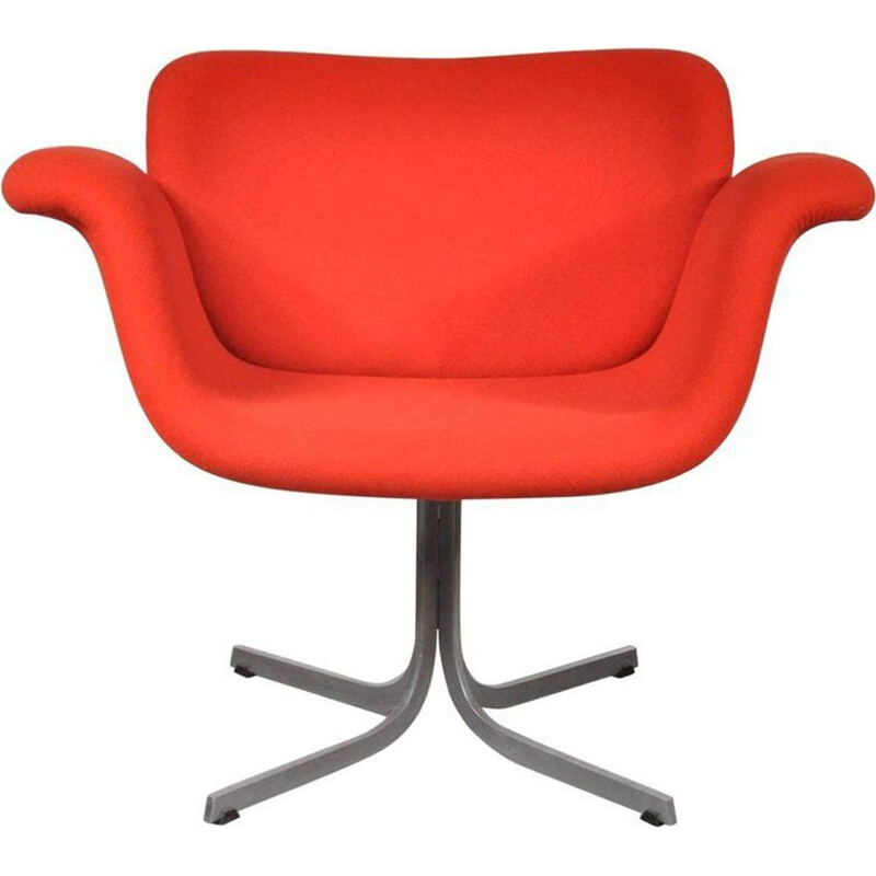 Vintage red tulip armchair  by Pierre Paulin for Artifort 1st edition,1950