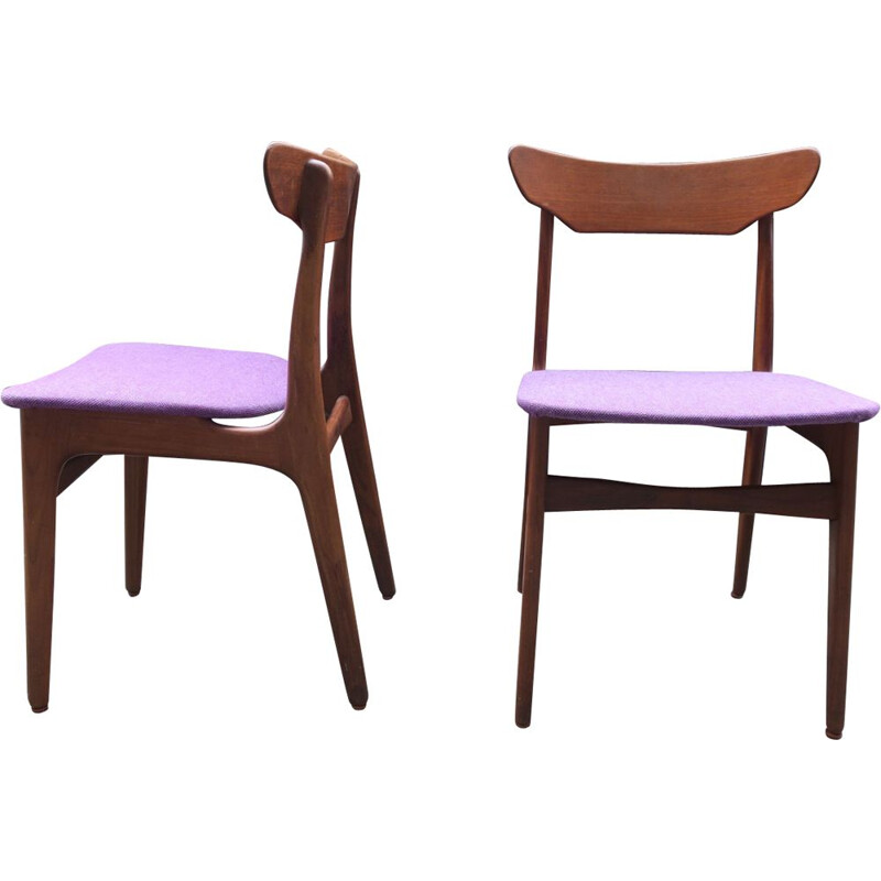 Pair of vintage chairs purple in teak by Schionning and Elgaard 1960s