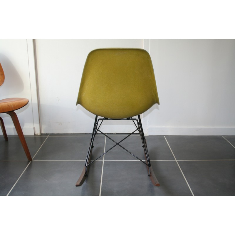herman miller yellow rocking chair charles ray eames 1960s