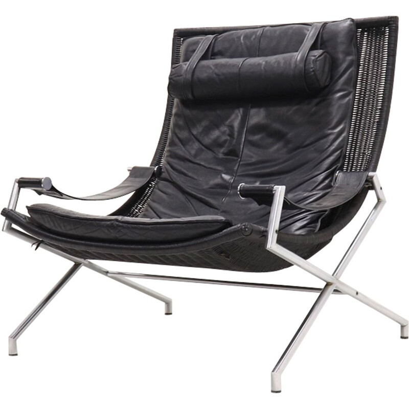 Vintage armchair black leather by Gerard van den Berg for Rohé